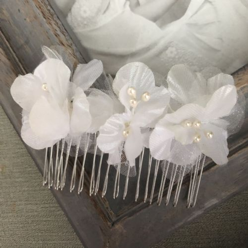 Holy Communion organza flowers  hair comb